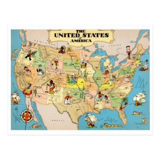 Vintage Karte Vereinigter Staaten