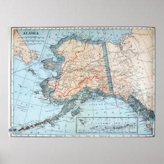 Vintage Karte von Alaska (1921) Poster