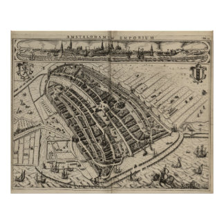 Vintage Karte von Amsterdam (1614) Poster