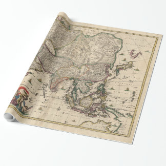 Vintage Karte von Asien (1689) Geschenkpapier