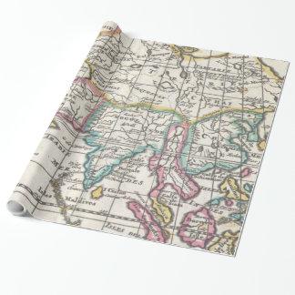 Vintage Karte von Asien (1706) Geschenkpapier