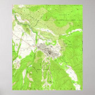 Vintage Karte von Aspen Colorado (1960) Poster