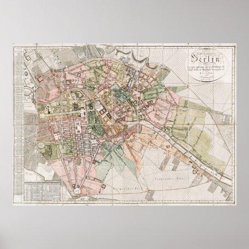 Vintage Karte von Berlin (1811) Poster