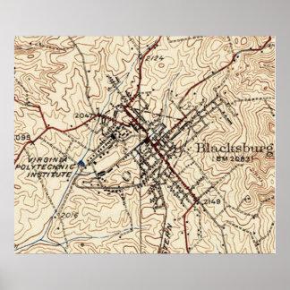 Vintage Karte von Blacksburg Virginia (1932) Poster