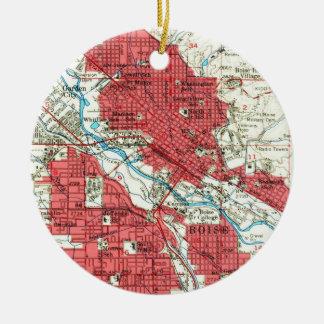 Vintage Karte von Boise Idaho (1954) Keramik Ornament