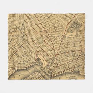 Vintage Karte von Brooklyn New York (1874) Fleecedecke