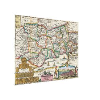 Vintage Karte von der Schweiz (1747) Leinwanddruck