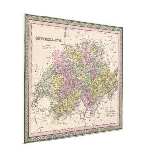 Vintage Karte von der Schweiz (1853) Leinwanddruck