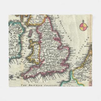 Vintage Karte von England (1747) Fleecedecke