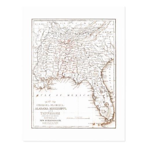 Vintage Karte von Florida Alabama Georgia Mississi Postkarten