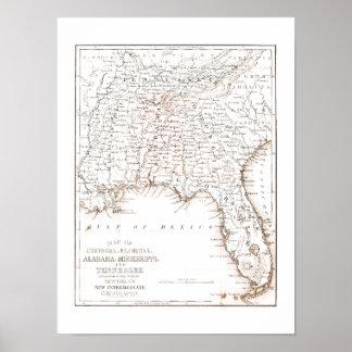 Vintage Karte von Florida Alabama Georgia Poster