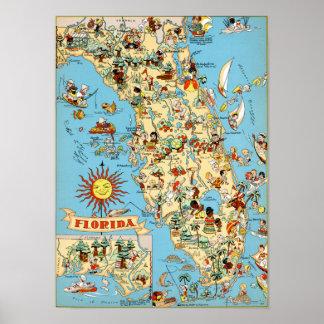 Vintage Karte von Florida Poster