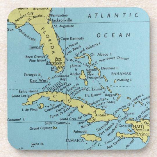 Karte Kuba.Vintage Karte Von Florida Und Kuba Untersetzer Getränkeuntersetzer