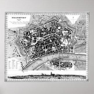 Vintage Karte von Frankfurt Deutschland (1845) BW Poster