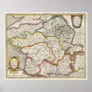 Vintage Karte von Frankreich (1657) Poster