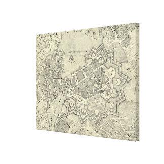 Vintage Karte von Genf die Schweiz (1825) Leinwanddruck