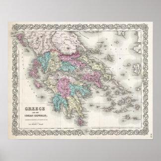 Vintage Karte von Griechenland (1855) Poster