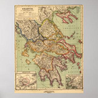 Vintage Karte von Griechenland (1903) Poster
