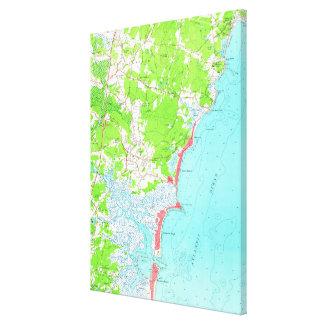 Vintage Karte von Hampton-Strand New Hampshire Leinwanddruck