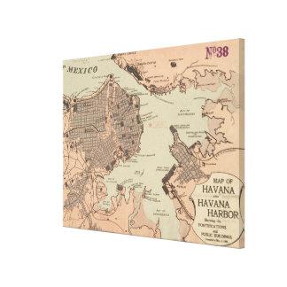 Vintage Karte von Havana Kuba (1898) 2 Leinwanddruck
