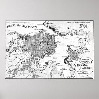 Vintage Karte von Havana Kuba (BW 1898) 2 Poster