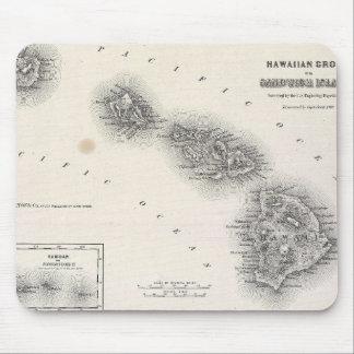 Vintage Karte von Hawaii und von Neuseeland (1855) Mousepads