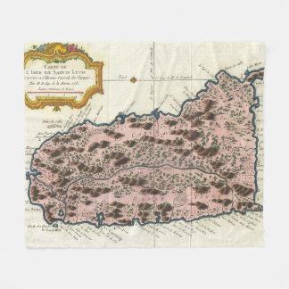 Vintage Karte von Heiliger Lucia (1758) Fleecedecke