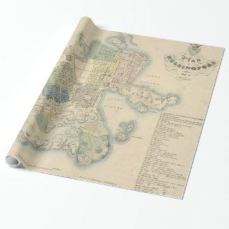 Vintage Karte von Helsinki Finnland (1837) Geschenkpapier
