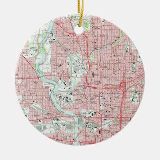 Vintage Karte von Indianapolis Indiana (1967) Keramik Ornament