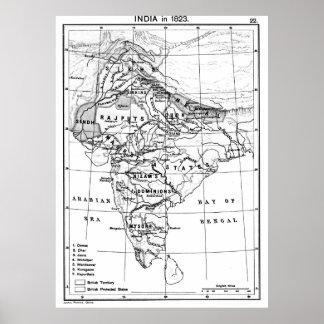Vintage Karte von Indien (1823) BW Poster