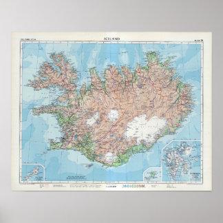 Vintage Karte von Island Poster