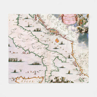 Vintage Karte von Italien (17. Jahrhundert) Fleecedecke