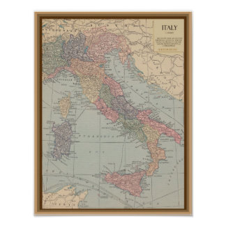 Vintage Karte von Italien Poster