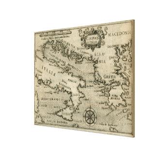 Vintage Karte von Italien und von Griechenland Leinwanddruck