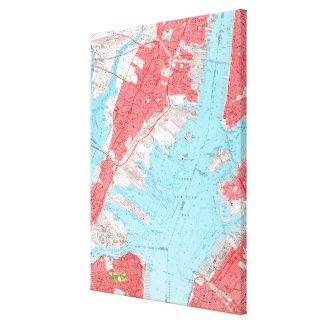 Vintage Karte von Jersey City NJ (1955) 2 Leinwanddruck