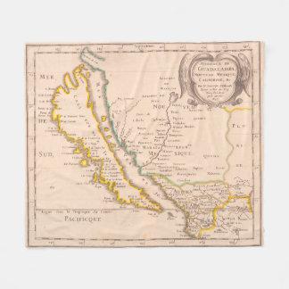 Vintage Karte von Kalifornien (1657) Fleecedecke