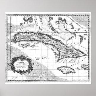 Vintage Karte von Kuba und Jamaika (1763) BW Poster