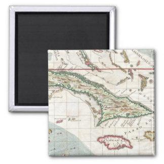 Vintage Karte von Kuba und von Jamaika (1763) Quadratischer Magnet