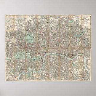 Vintage Karte von London (1890) Posterdrucke
