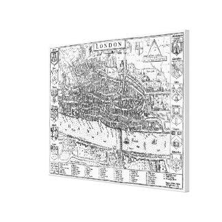 Vintage Karte von London England (1593) Leinwanddruck