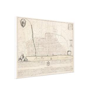 Vintage Karte von London England (1744) Leinwanddruck
