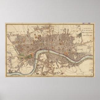 Vintage Karte von London England 1807 Plakat