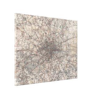 Vintage Karte von London England (1900) 2 Leinwanddruck