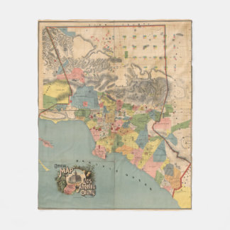 Vintage Karte von Los Angeles County CA (1888) Fleecedecke