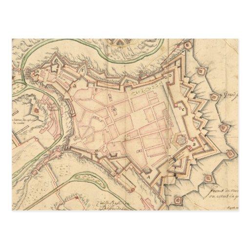 Vintage Karte von Luxemburg (1686) Postkarte