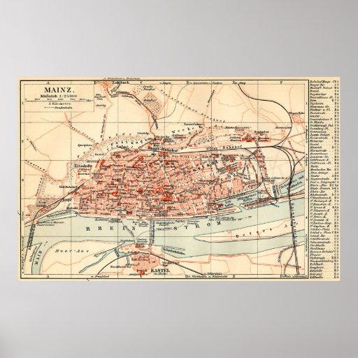 Vintage Karte von Mainz Deutschland (1905) Plakat