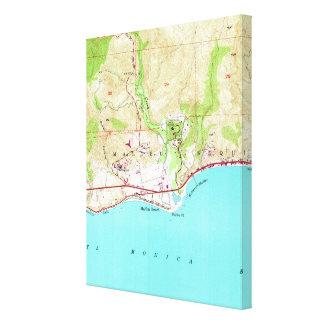 Vintage Karte von Malibu Kalifornien (1950) Leinwanddruck