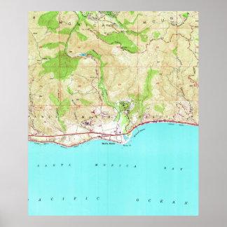 Vintage Karte von Malibu Kalifornien (1950) Poster