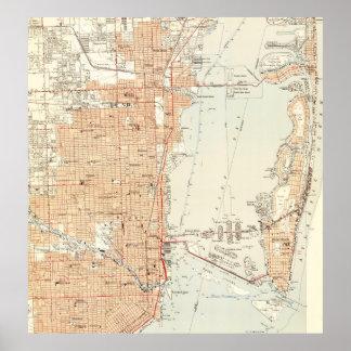 Vintage Karte von Miami Florida (1950) Poster