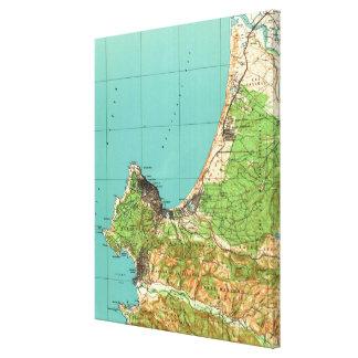 Vintage Karte von Monterey Kalifornien (1941) Leinwanddruck